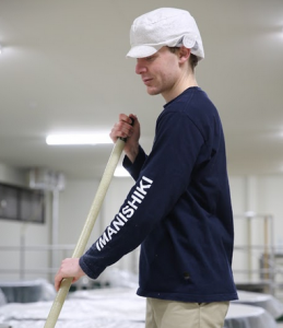 Nigel working at Yonezawa sake brewery